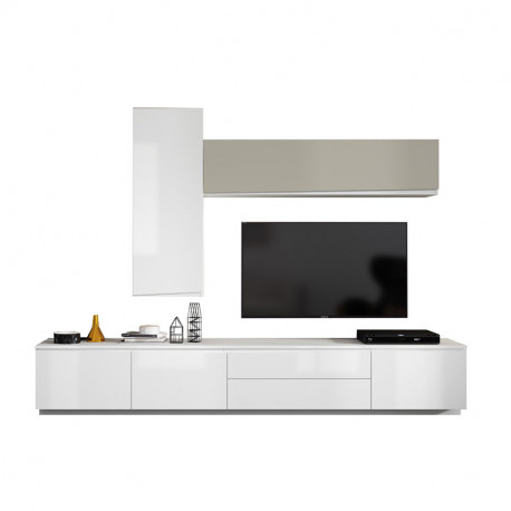 Composition TV Laque Blanc/Taupe - CAMELIA
