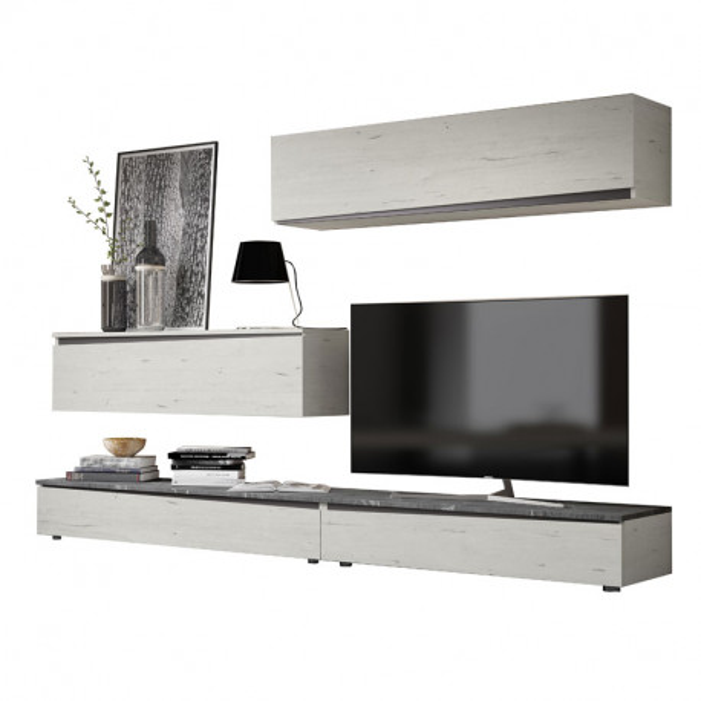 Composition TV Bois blanchi/Marbre gris - CAMELIA