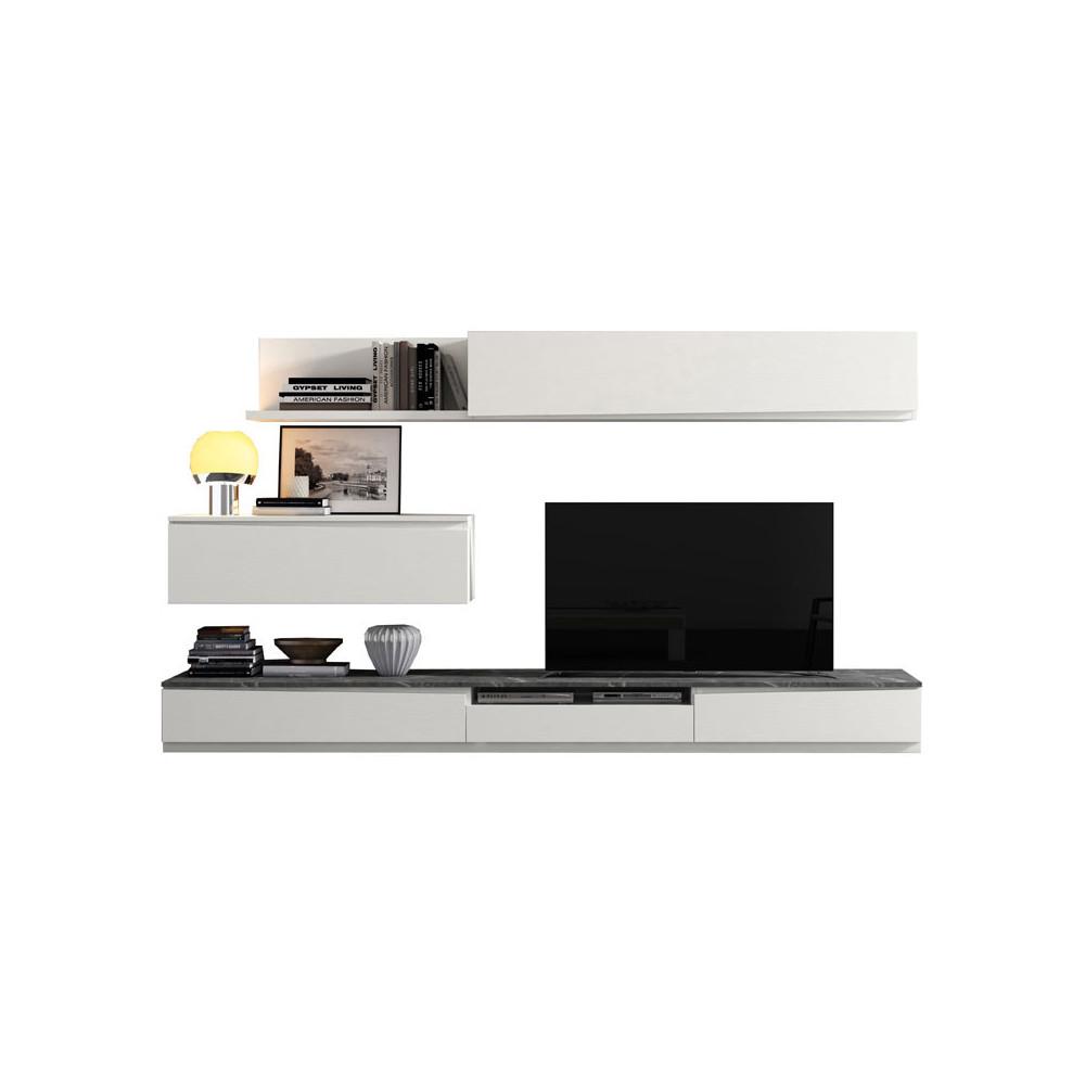 Composition TV Bois blanc/Marbre gris - CAMELIA