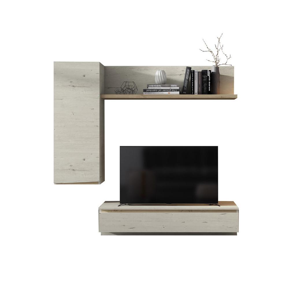 Composition TV Bois blanchi/Chêne blond - CAMELIA