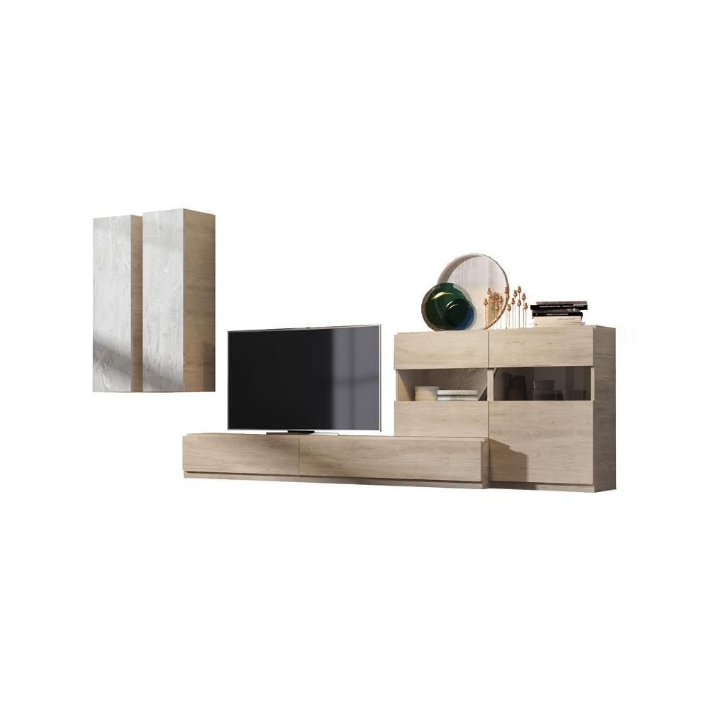Composition TV Bois clair/Marbre blanc - CAMELIA n°2