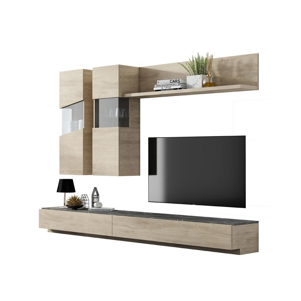 Composition TV Bois clair/Marbre gris - CAMELIA
