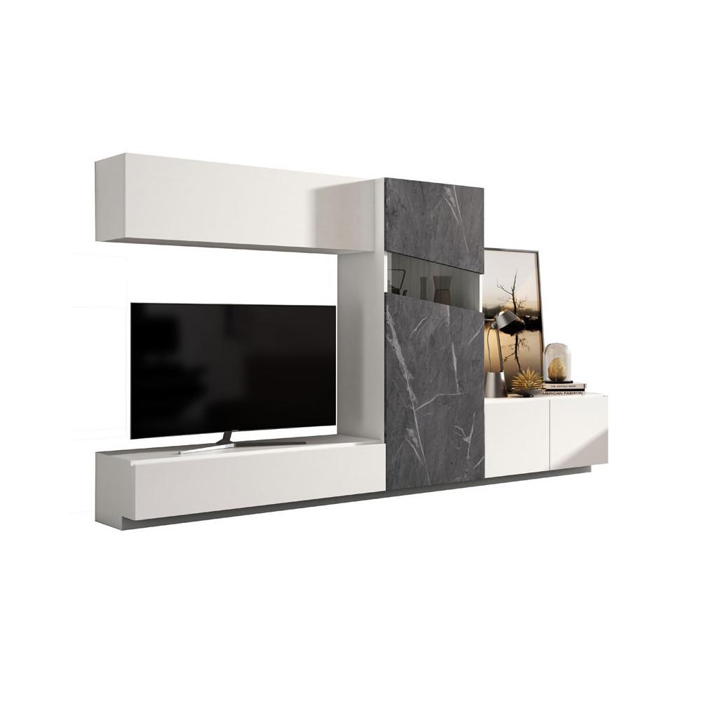 Composition TV Bois blanc/Marbre gris - CAMELIA n°2