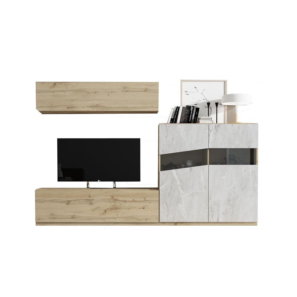 Composition TV Chêne blond/Marbre blanc - CAMELIA