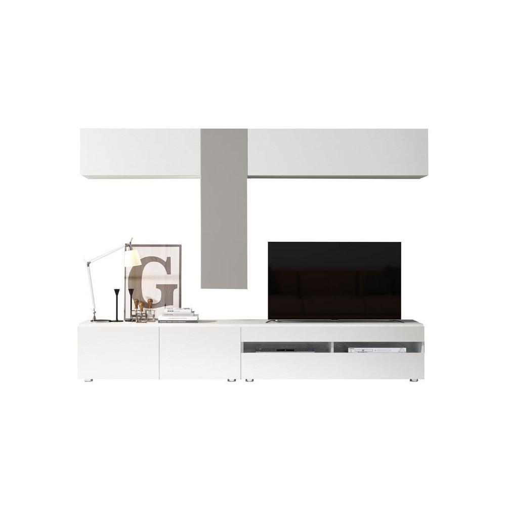 Composition TV Bois blanc/Laque taupe - CAMELIA