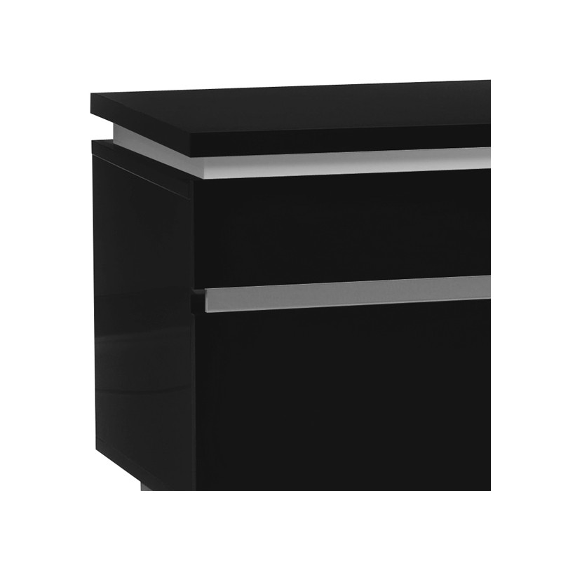 meuble tv laque noire 2 portes abattantes carmen univers salon. Black Bedroom Furniture Sets. Home Design Ideas