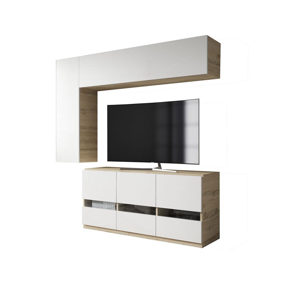 Composition TV Bois blanc/Chêne blond - CAMELIA