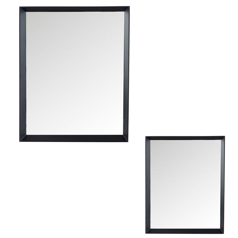 Duo de miroirs rectangulaires Bois noir - YREL