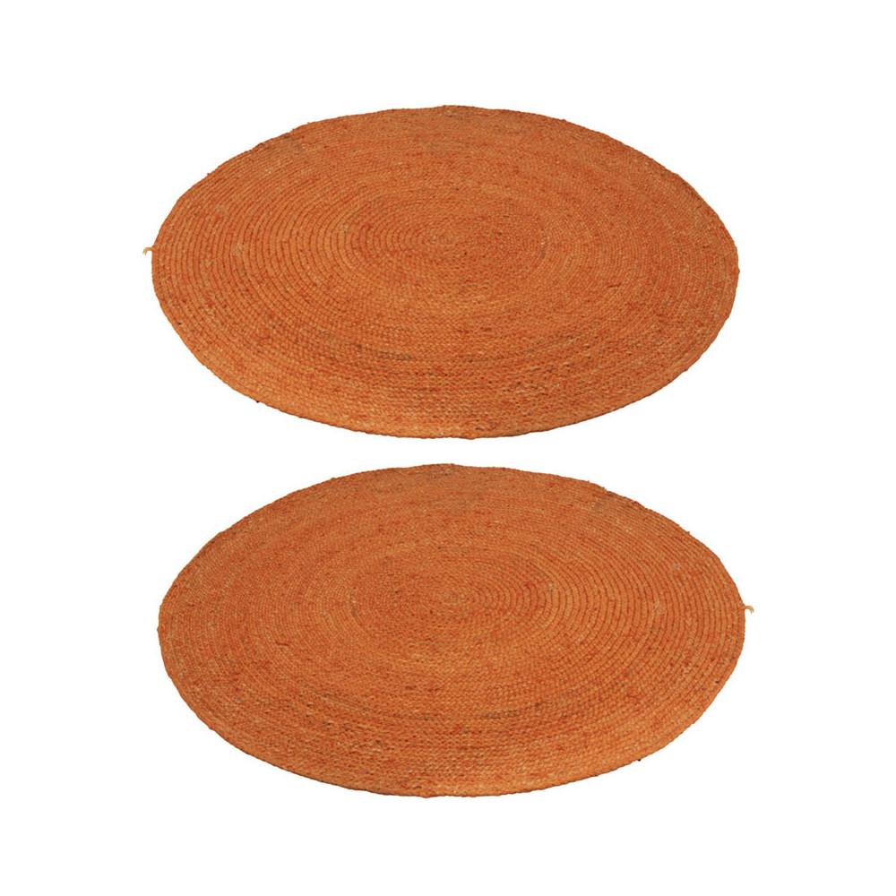 Duo de Tapis ronds Jute orange 120*120 - DEV