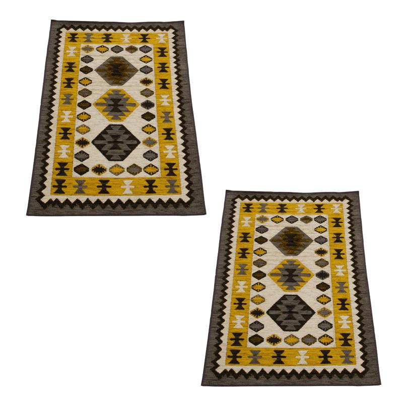 Duo de tapis Tissu multicolore taille S - VIRELAI