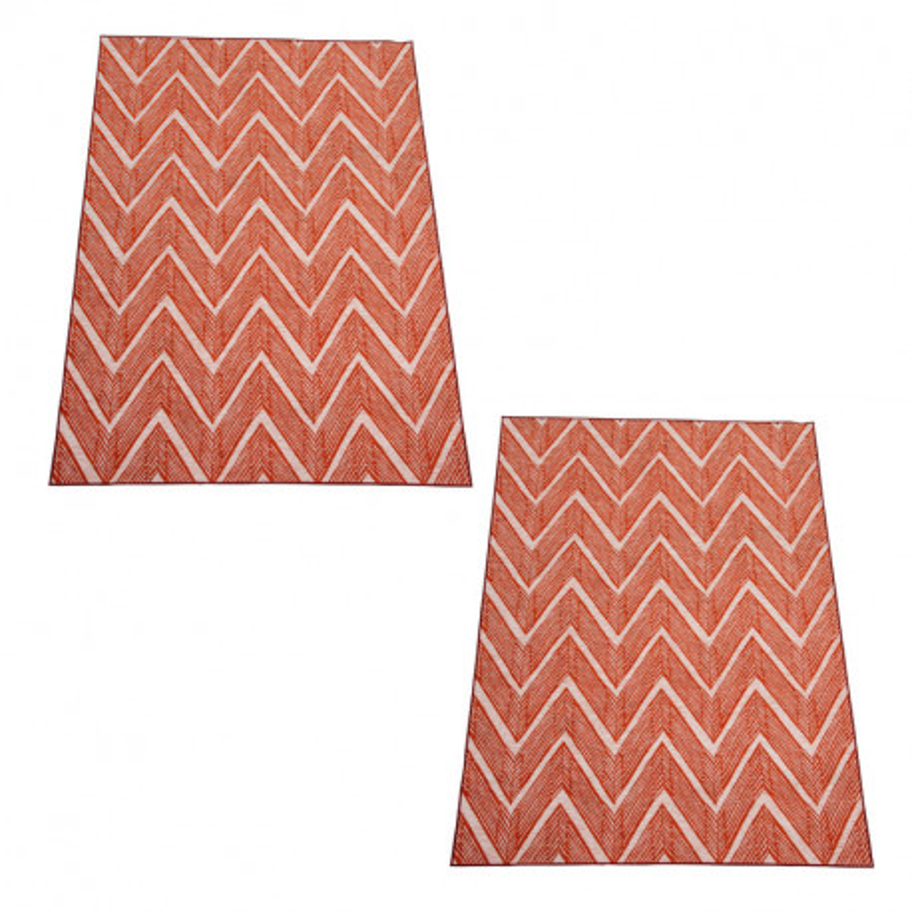 Duo de Tapis Tissu orange/blanc taille S  - DRABLE