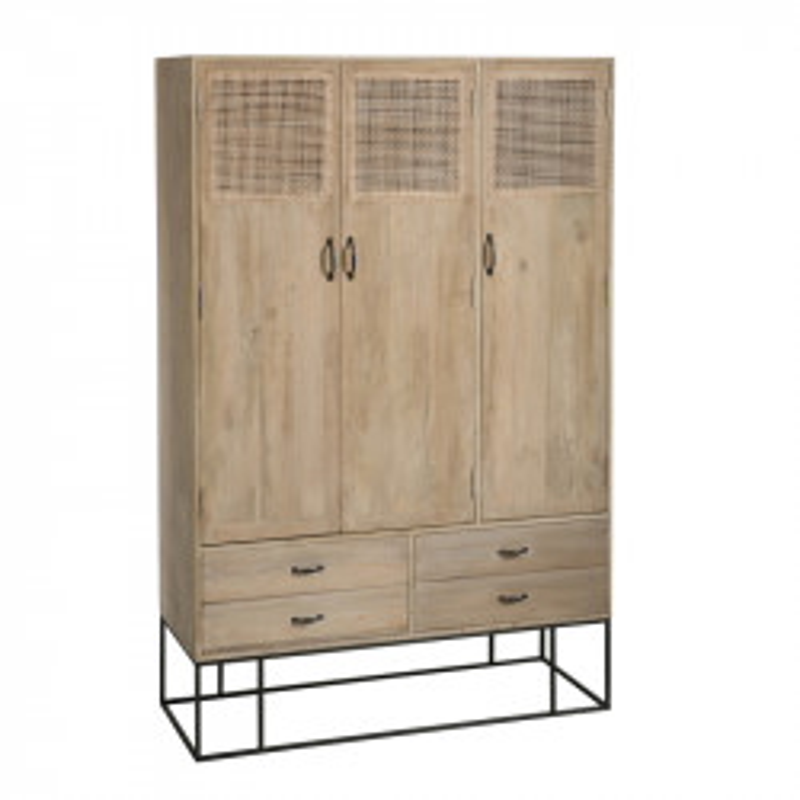 Armoire 3 portes 4 tiroirs en Rotin/Bois/Métal - DALIA