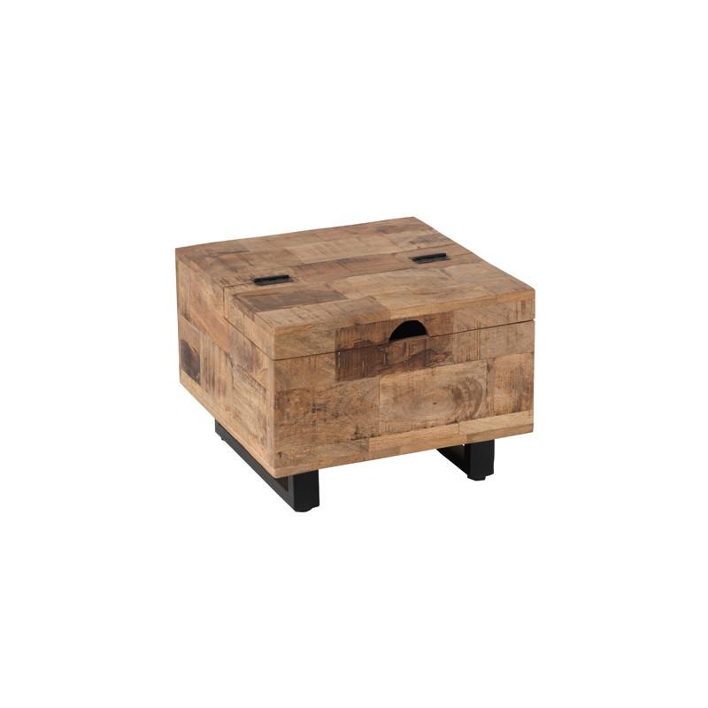 Petite table basse carrée coffre en Bois/Métal - UNIONA