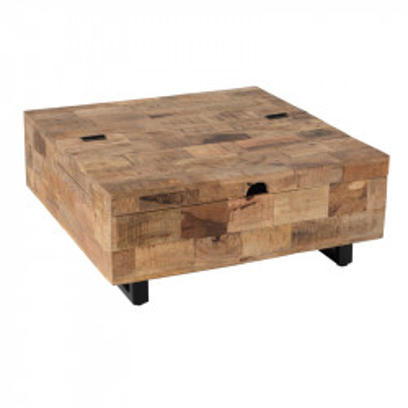 Grande table basse carrée coffre en Bois/Métal - UNIONA