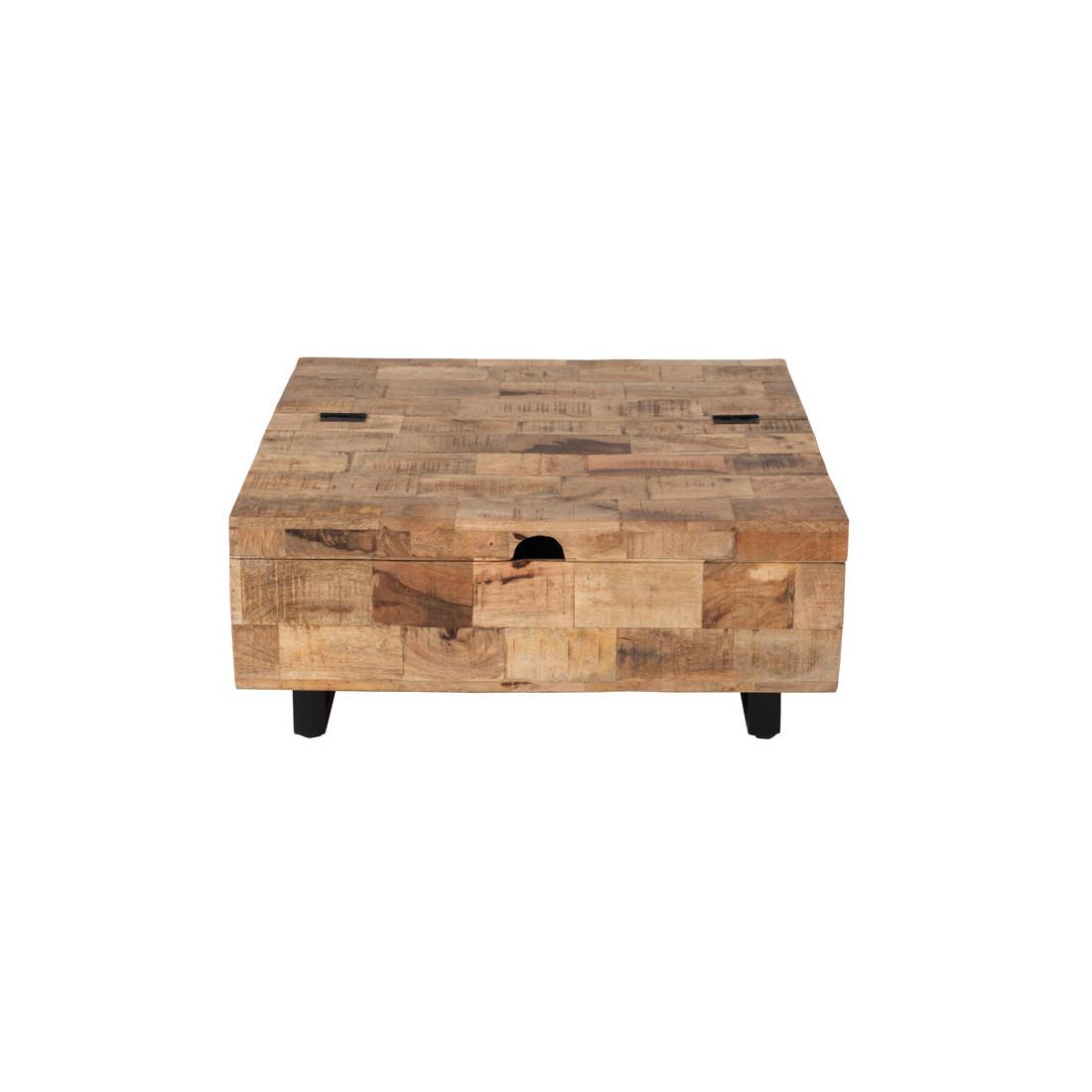 grande table basse carr e coffre en bois m tal uniona. Black Bedroom Furniture Sets. Home Design Ideas