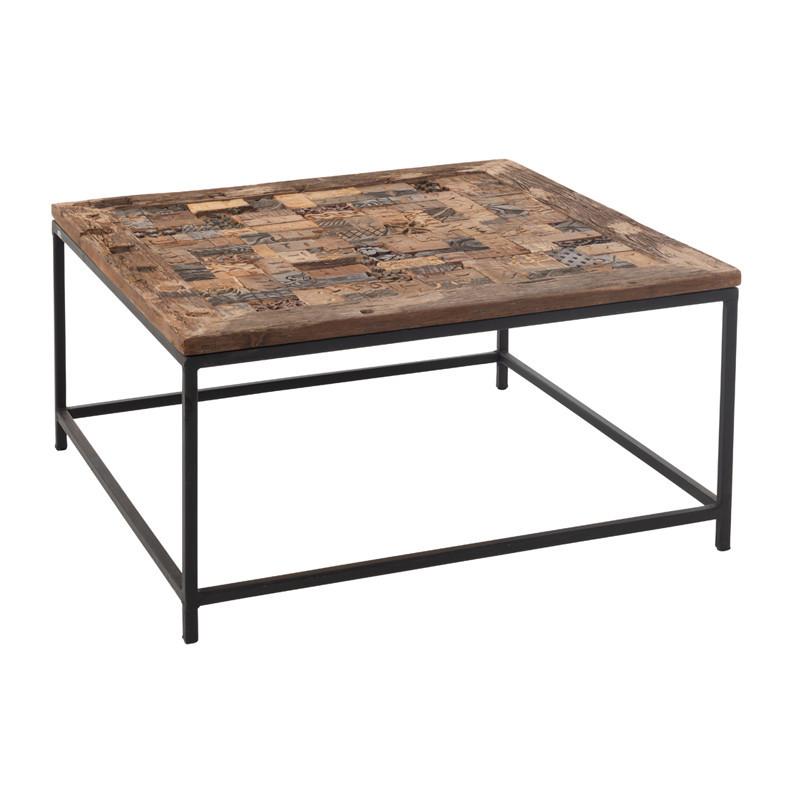 Table basse carrée en Bois brut/Métal - BOUTY