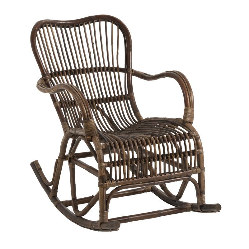 Rocking chair en Rotin foncé - RICKY