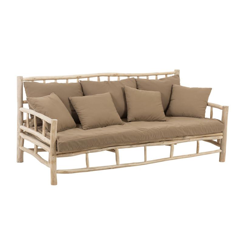 Canapé 3 places en Teck et coussins Marrons - DRILL