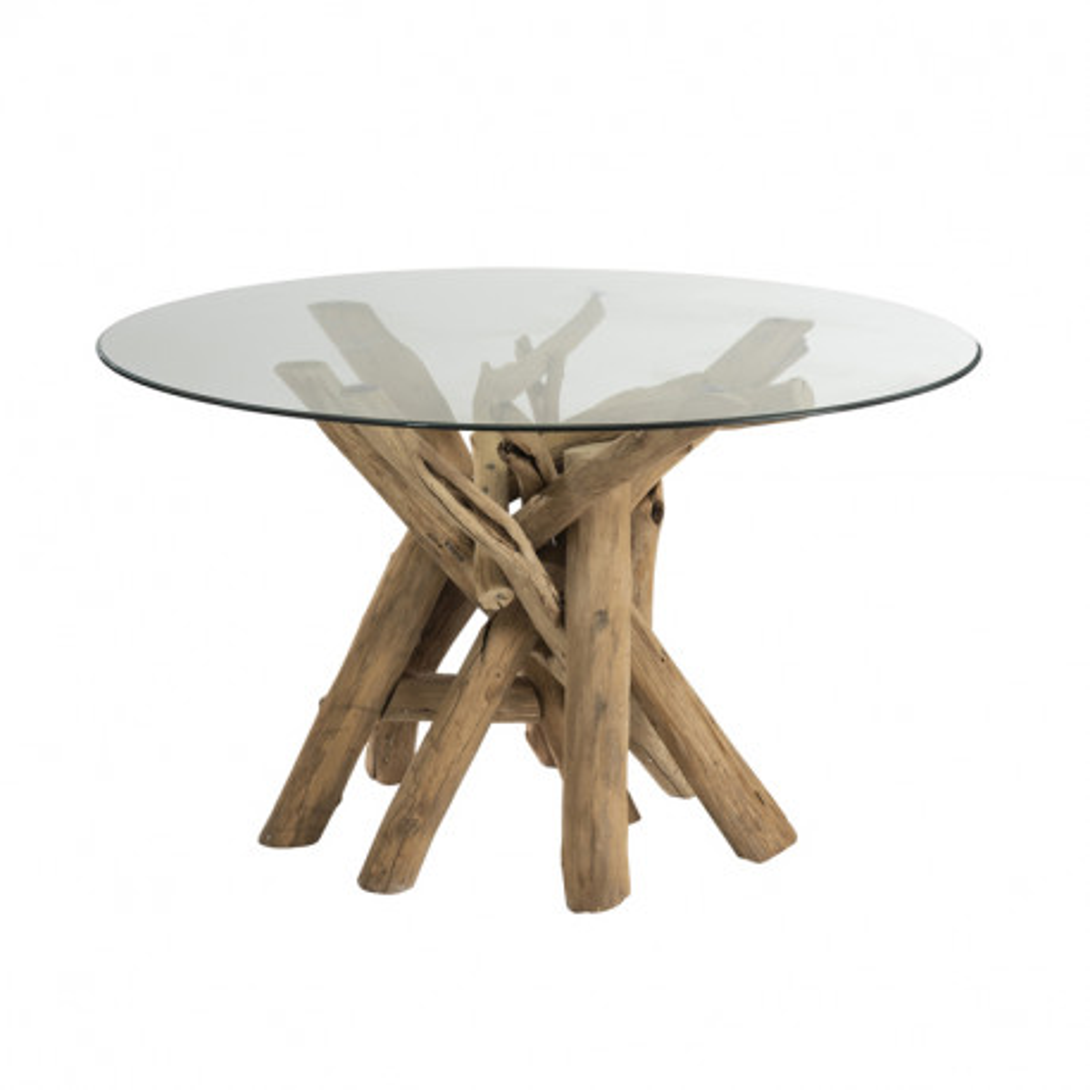 Table de repas ronde en Bois flotté/Verre - COMCIA