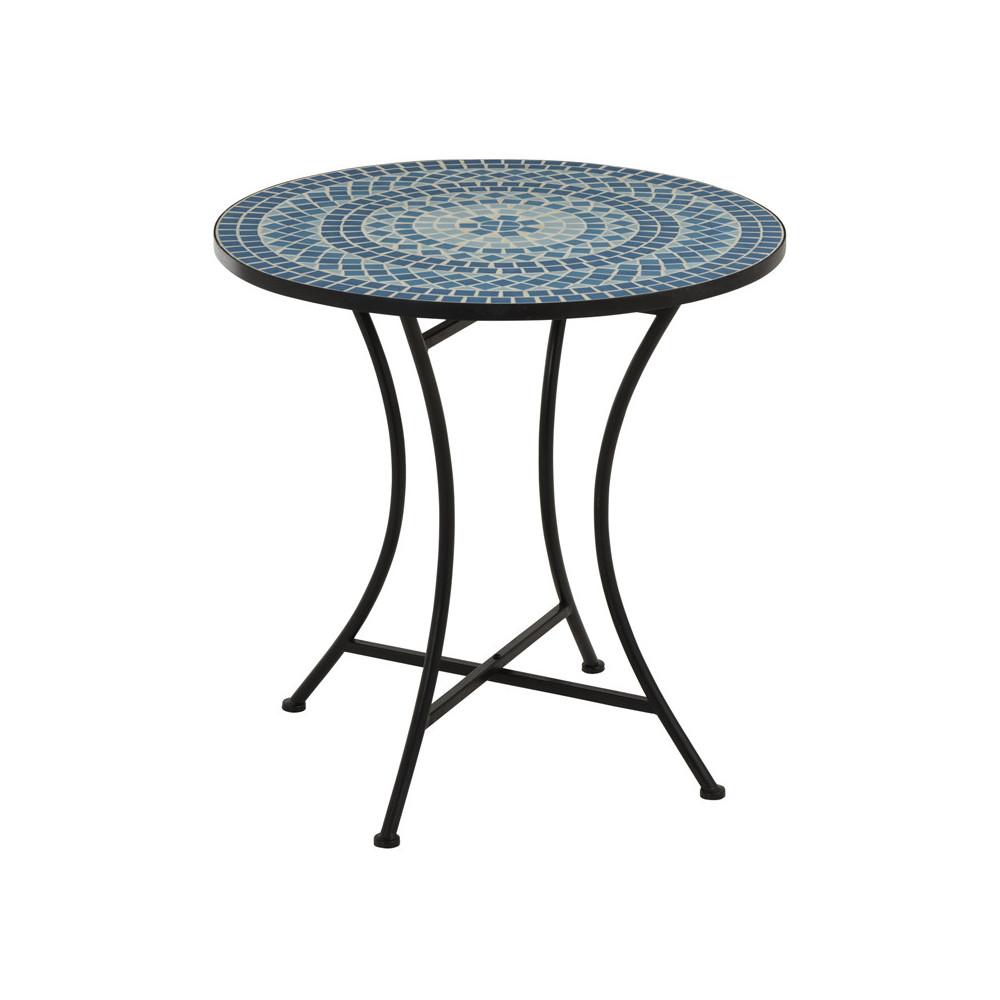 Table de repas ronde Noir/Mosaïque Bleue NEWIA - Univers du Jardin