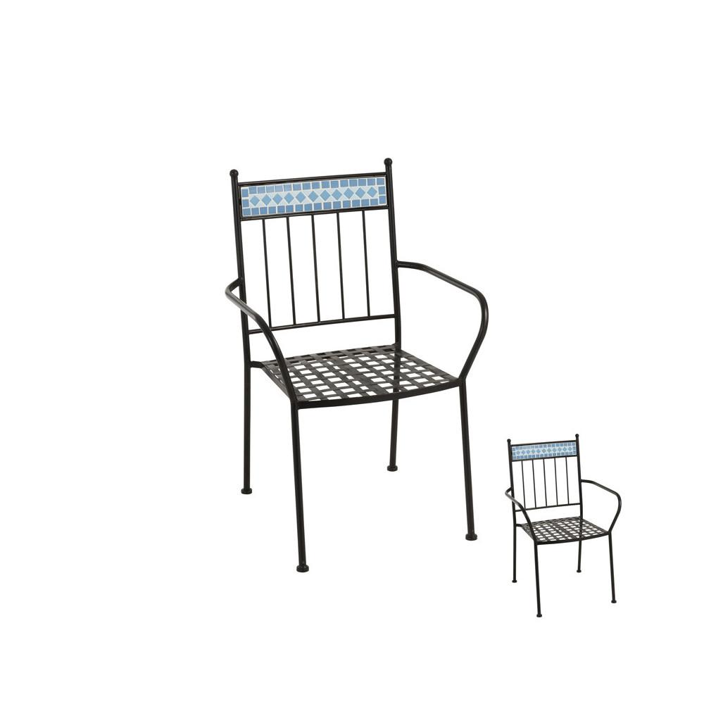 Duo de Chaises en Métal noir/Mosaïque bleue - NEWIA