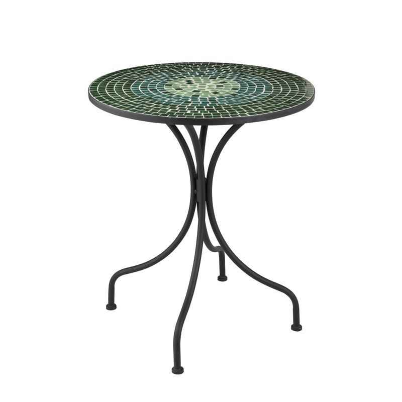 Table ronde Métal/Mosaïque verte - NEWIA