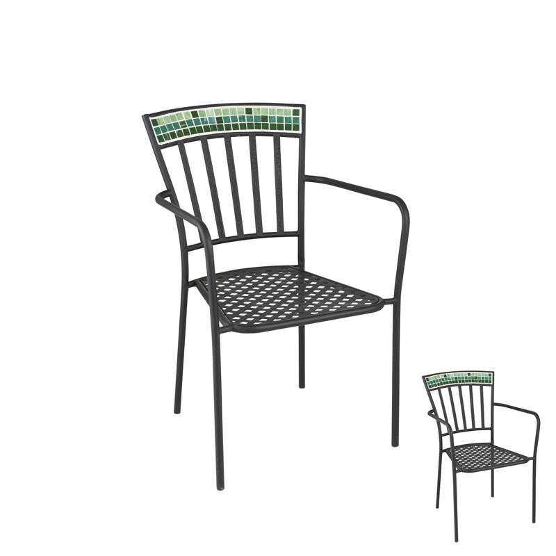 Duo de Chaises Métal/Mosaïque verte - NEWIA