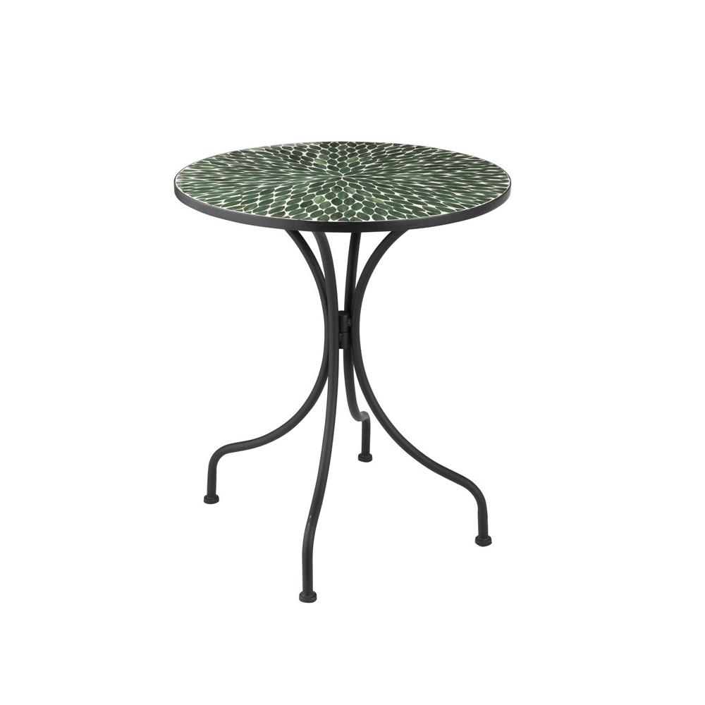 Table ronde Métal/Mosaïque verte NEWIA n°2 - Univers du Jardin