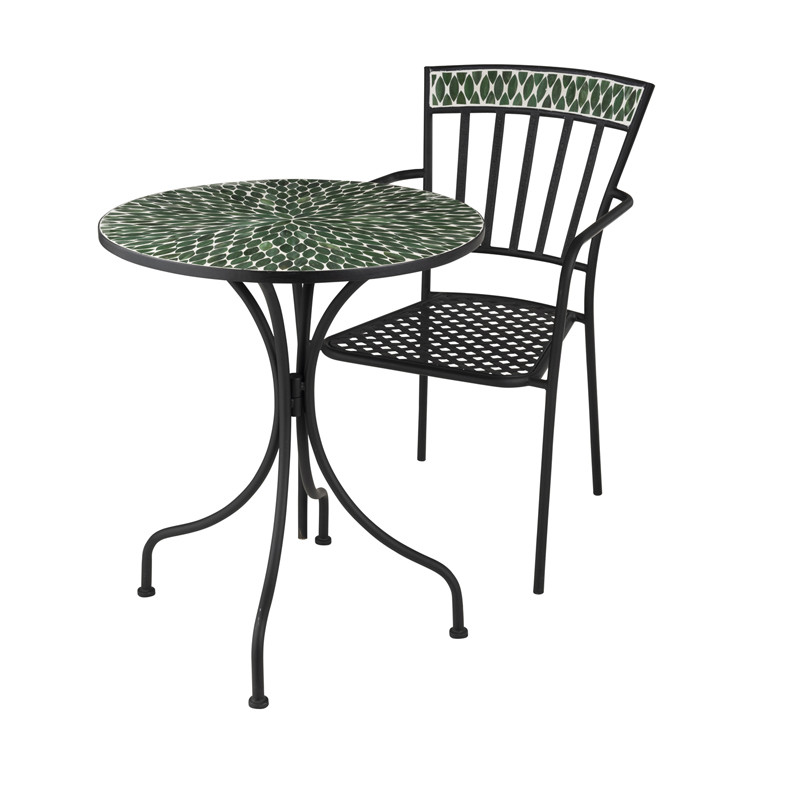 table ronde m tal mosa que verte newia n 2 univers du jardin. Black Bedroom Furniture Sets. Home Design Ideas