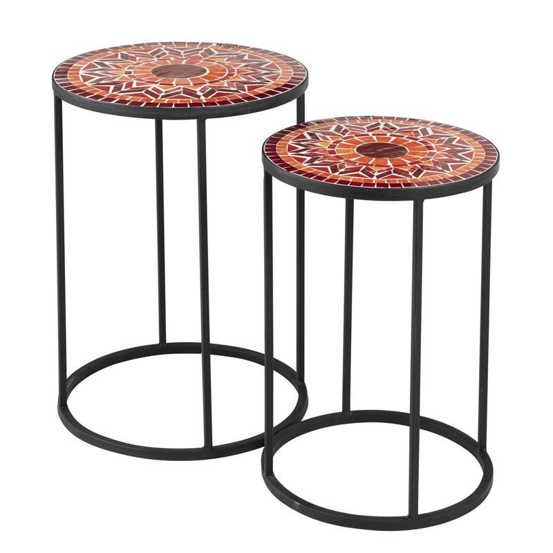 Tables gigognes rondes Métal/Mosaïque rouge - NEWIA