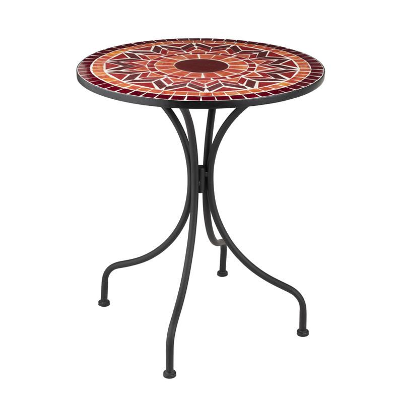 Table ronde Métal/Mosaïque rouge - NEWIA n°1