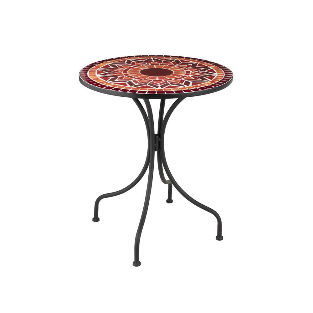 Table ronde Métal/Mosaïque rouge NEWIA - Univers du Jardin