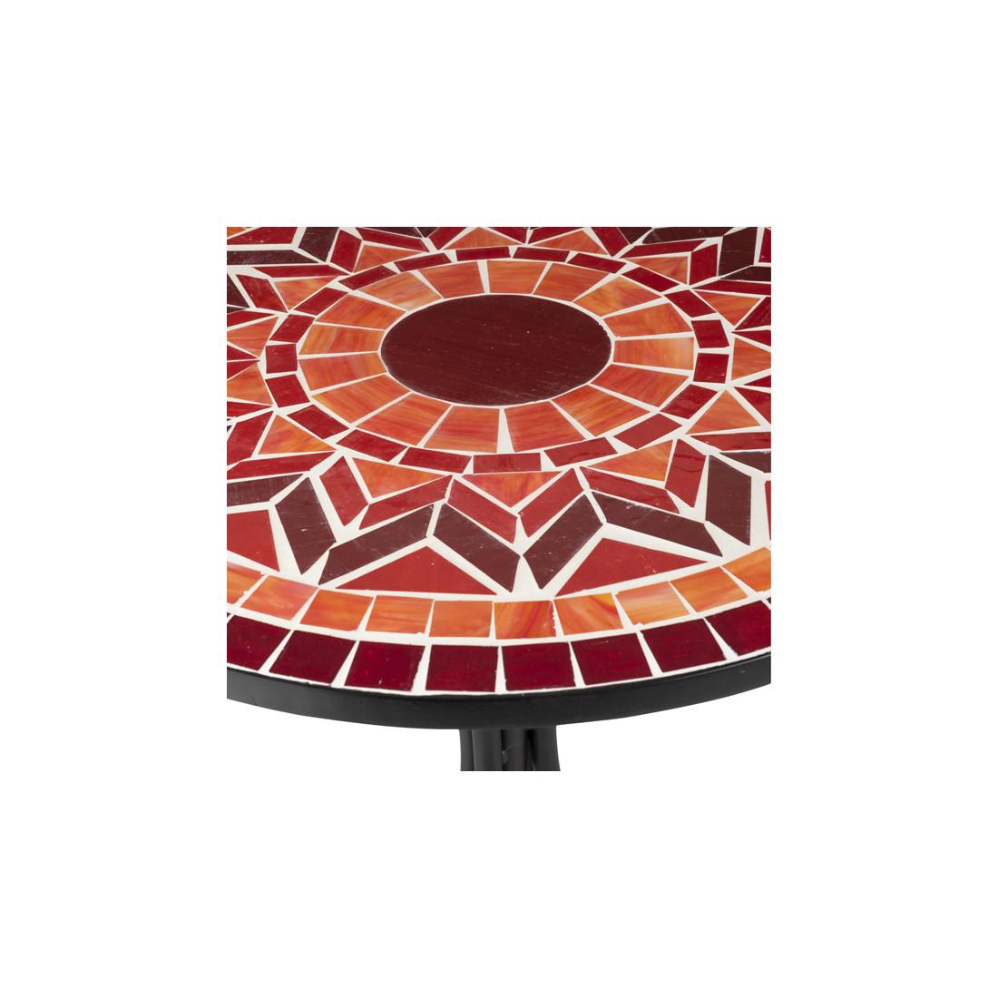table ronde m tal mosa que rouge newia univers du jardin. Black Bedroom Furniture Sets. Home Design Ideas
