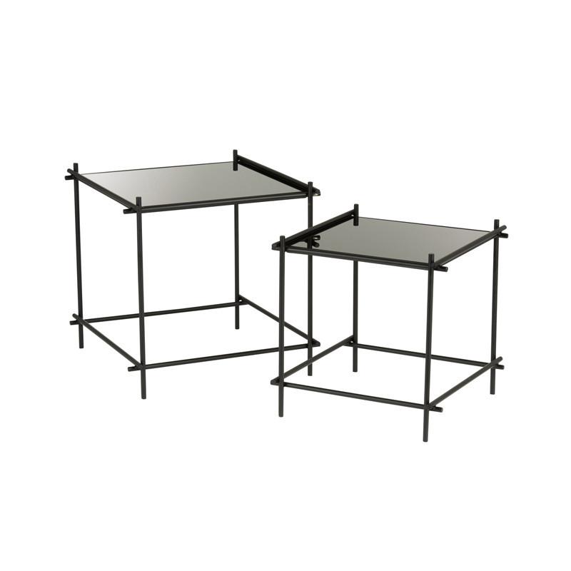 Tables gigognes carrées Métal/Verre noir - NICE