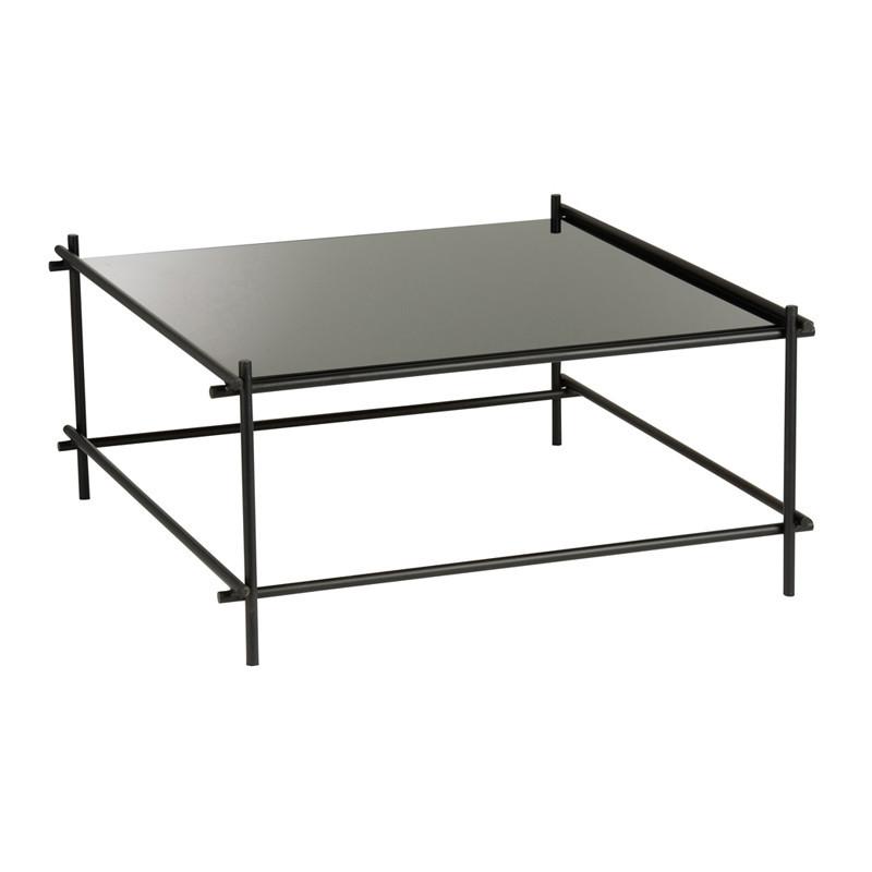 Table basse carrée Métal/Verre noir - NICE