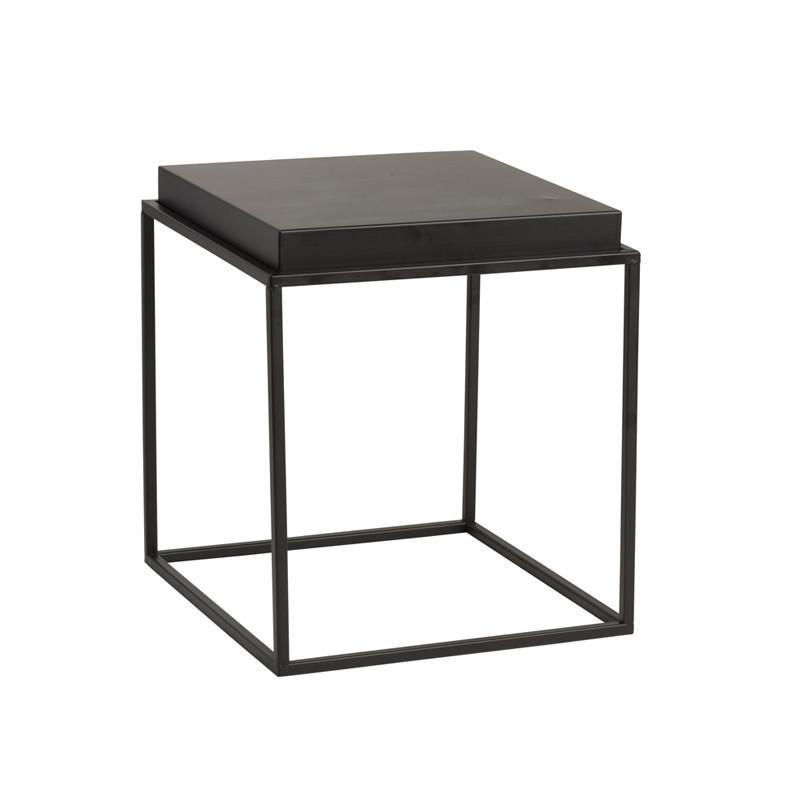 Table d'appoint carrée Métal noir taille S - BORA