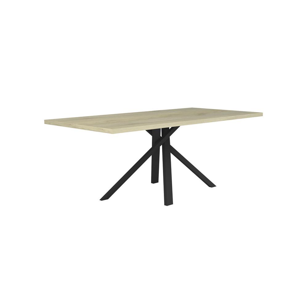 Table de repas plateau Chêne clair pied métal noir mat design - Univers Salle à Manger : Tousmesmeubles