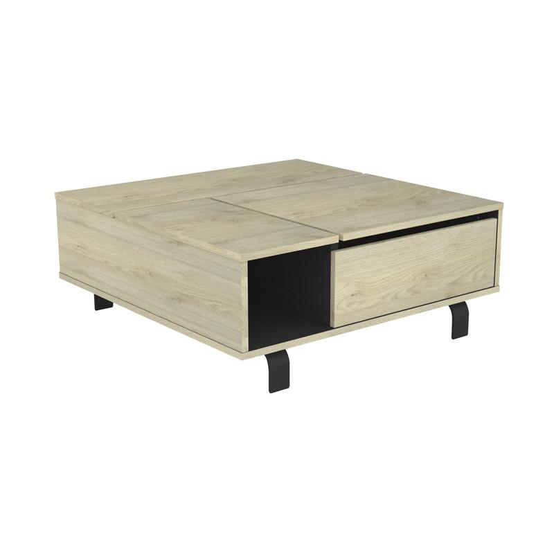 Table basse carrée relevable Chêne clair/Noir mat moderne - Univers Salon : Tousmesmeubles