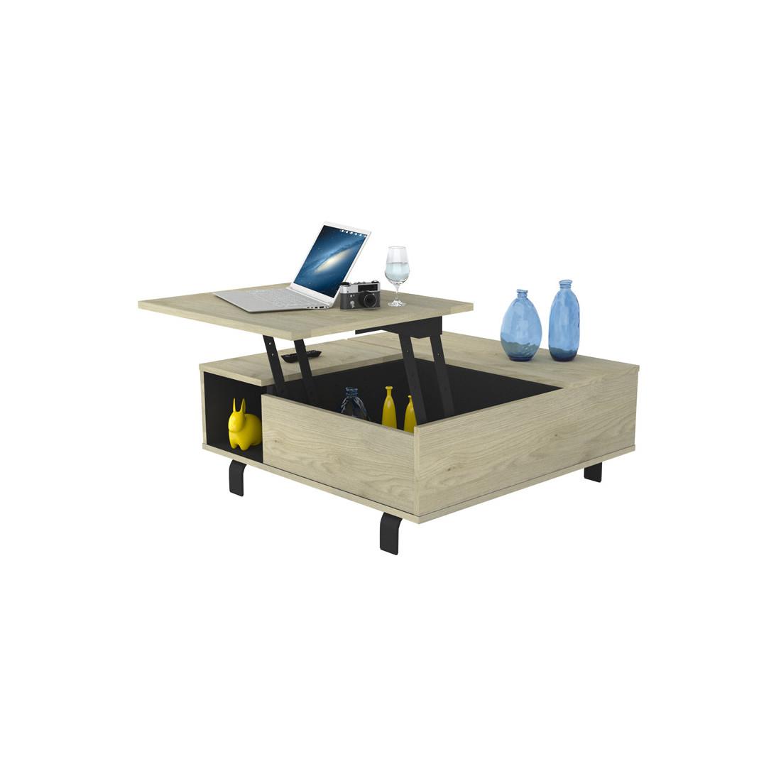 table basse carr e relevable ch ne clair noir mat forest. Black Bedroom Furniture Sets. Home Design Ideas