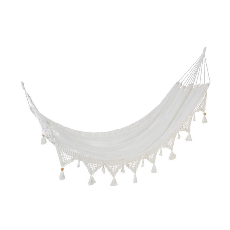 Hamac à pompons en Tissu blanc - HUAHINE
