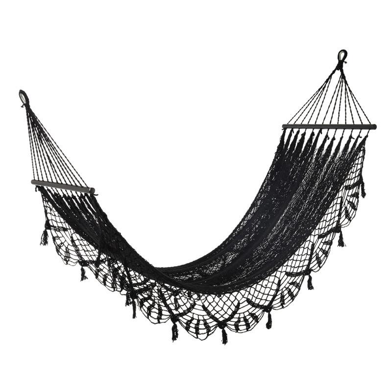 Hamac crochet en Coton noir - HUAHINE