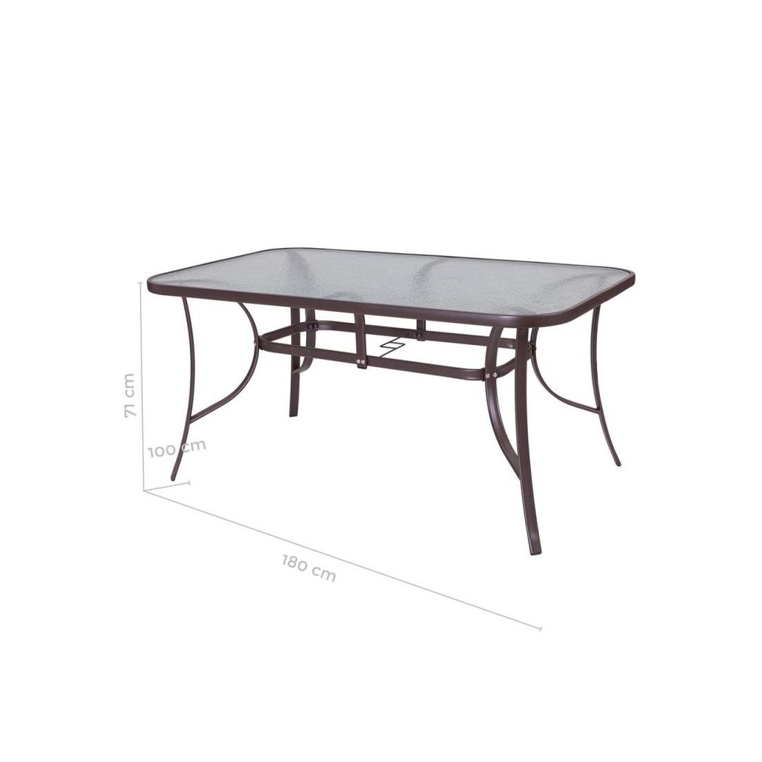 table de repas verre acier marron tikehau n 2 univers du. Black Bedroom Furniture Sets. Home Design Ideas