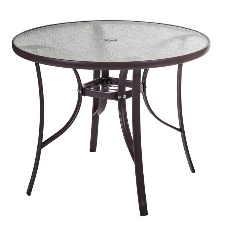 Table de repas ronde Verre/Acier marron - TIKEHAU