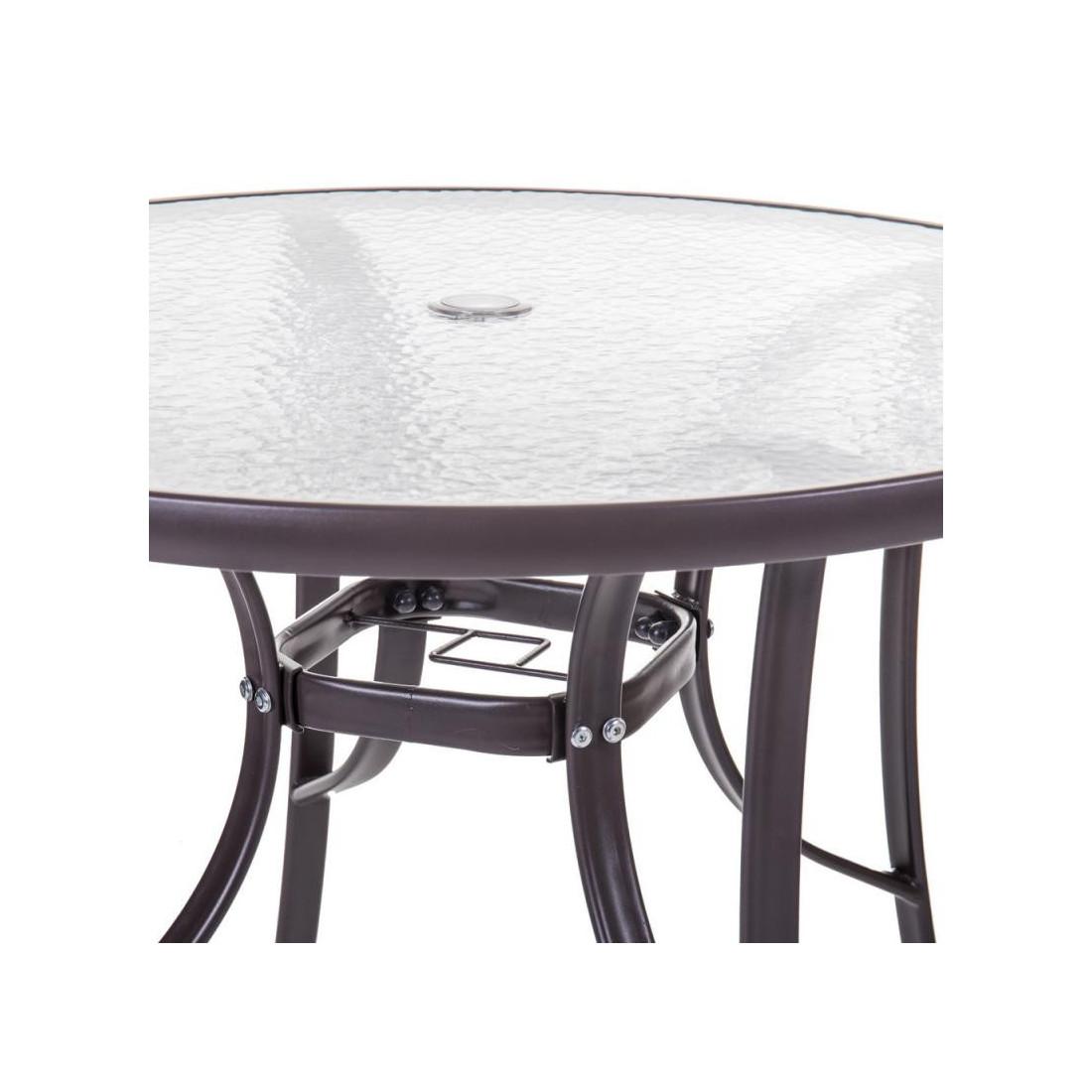 Table de repas ronde Verre/Acier marron TIKEHAU - Univers du Jardin