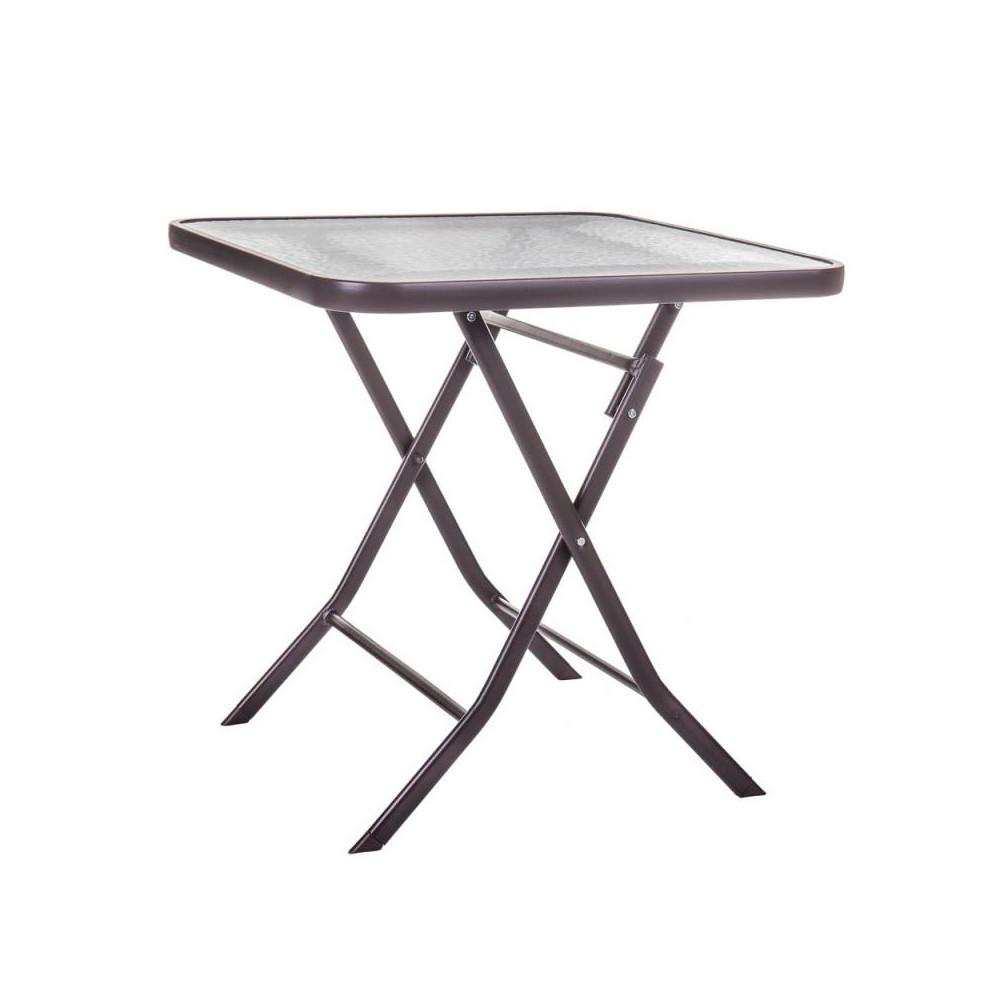 Table de repas carrée Verre/Acier marron - TIKEHAU