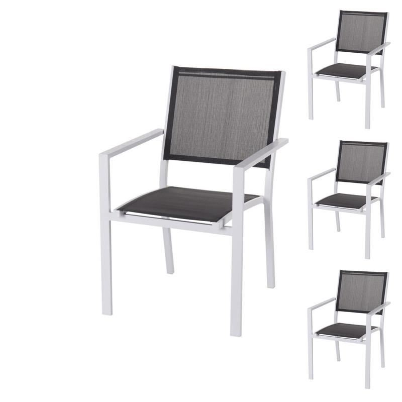 Quatuor de Chaises Textilène gris/Métal blanc - TUBUAI