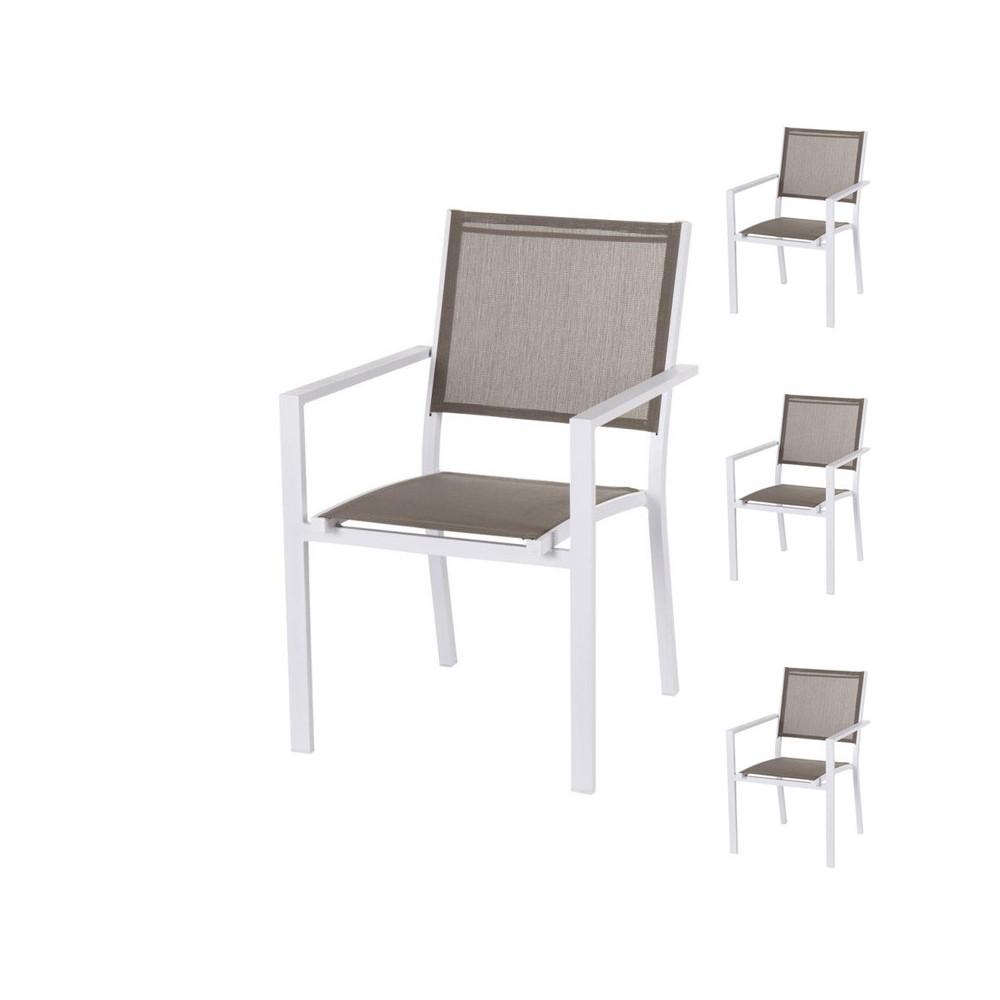 Quatuor de Chaises Textilène taupe/Métal blanc VADO - Univers Jardin