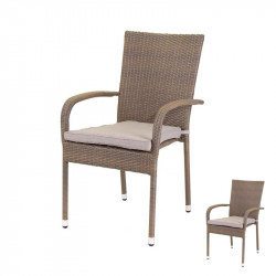 Duo de Chaises Rotin taupe et coussins - BAROS