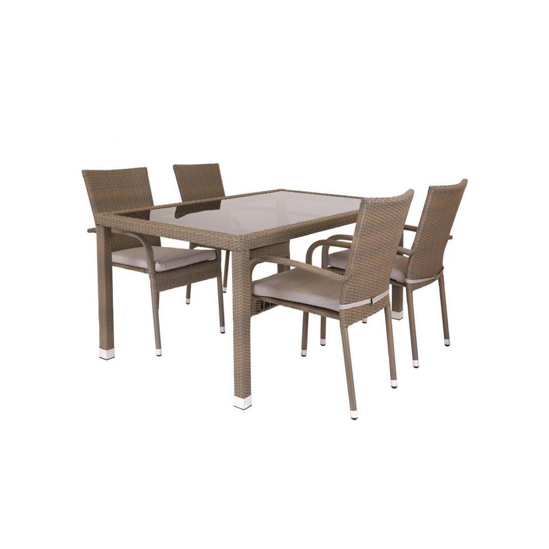 table de repas rectangulaire rotin taupe verre baros. Black Bedroom Furniture Sets. Home Design Ideas