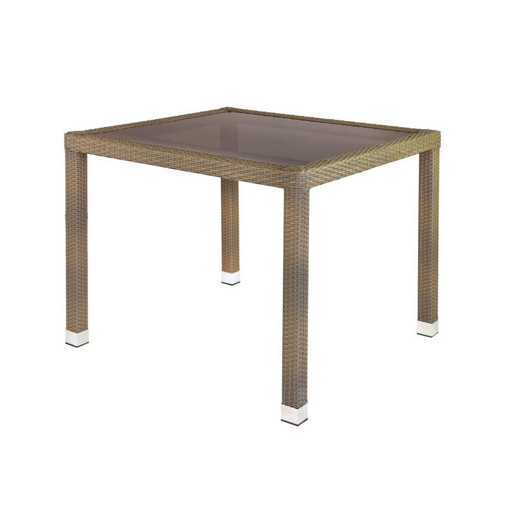 Table de repas carrée Rotin taupe/Verre - BAROS